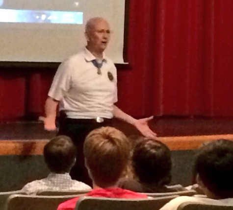 Allen James Lynch, Medal of Honor recipient, speaks at Central