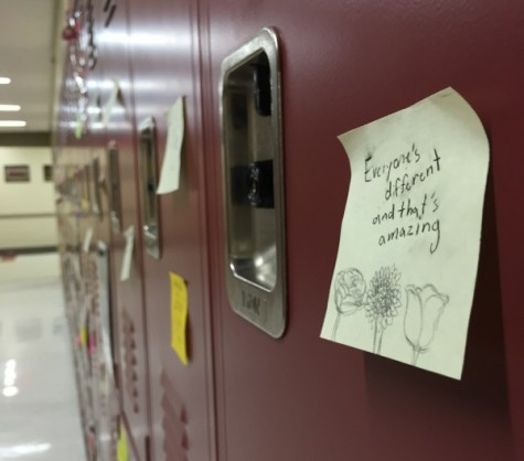 """Positive Post-Its"" displayed on lockers"