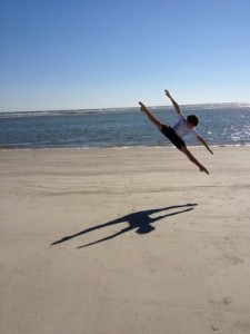 Freshman Kyle Halford is one of this week's Redhawks of the Week. He enjoys dancing in his free time, as shown in this picture of him doing the splits in mid-air at the beach. (Photo courtesy of Kyle Halford)
