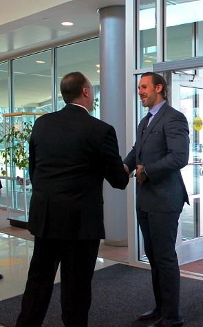 Owen Daniels shakes hand