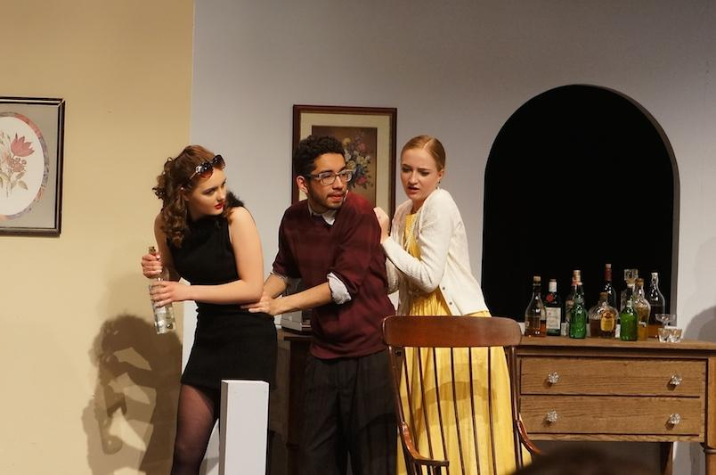 Brindsley tries to sneak his ex-girlfriend Clea, into his bedroom and away from his Fiancé, Carol.