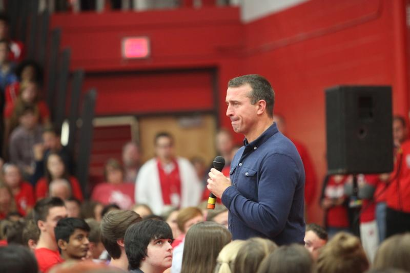 Chris Herren addresses the Naperville Central student body at an all-school assembly on Oct. 6.