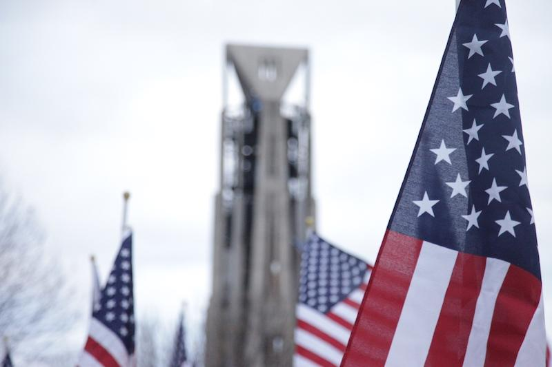 In honor of Veterans' Day, Rotary Hill was covered in flags.