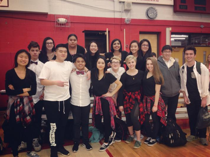 Faith Alindog (front row, fourth from left) with her fellow Urban Arts Club (UAC) members after their performance in this year's Winter Assembly.