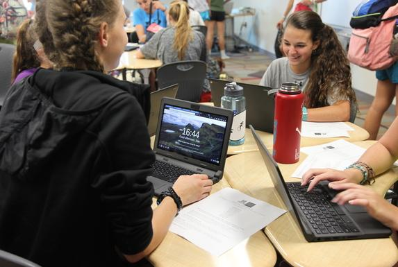 Students explore the changes to their Chromebooks.