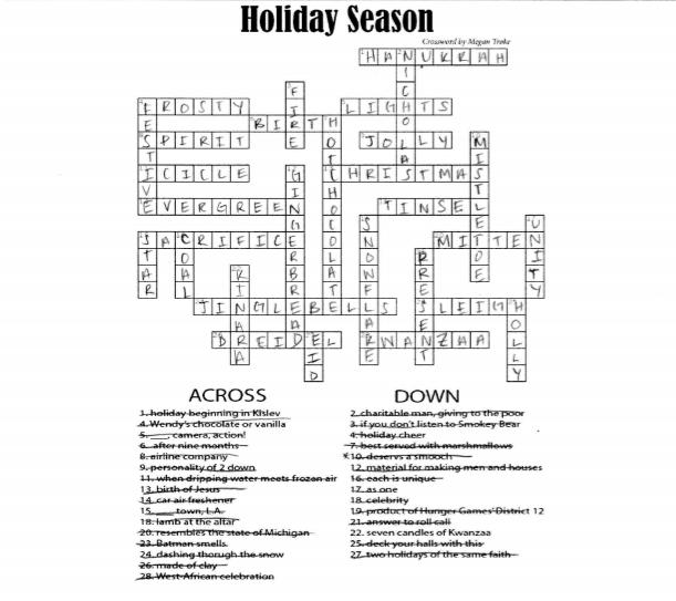 Crossword Key: December