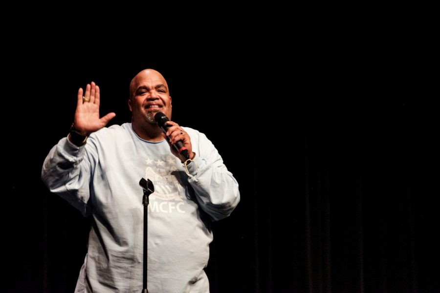 Comedic motivational speaker Reggie Dabbs effectively connects to Central students, spreads message of self-acceptance