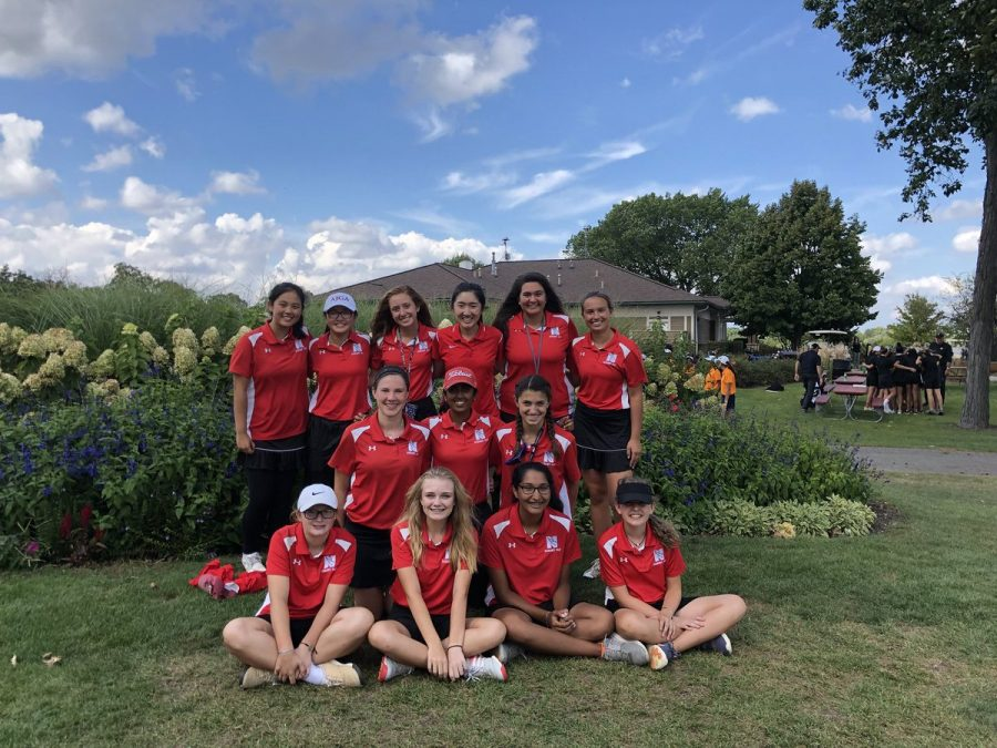 The+girls+golf+team+at+DVC+on+Sept.+25.+%28From+left+to+right%29%3A+Juniors+Rebecca+Zhang%2C+Emma+Lim%2C+Sally+Gombas%2C+senior+Erin+Fang%2C+juniors+Bella+Russo%2C+Ava+Lyons%2C+freshman+Haley+Hayes%2C+junior+Neha+Vinesh%2C+freshmen+Avery+Baltrus%2C+Liz+Gust%2C+Margot+Dawson%2C+Aparna+Ramakrishnan+and+Rachel+Leyden.+They+com-+peted+at+state+on+Oct.+12+at+Illinois+State+University.
