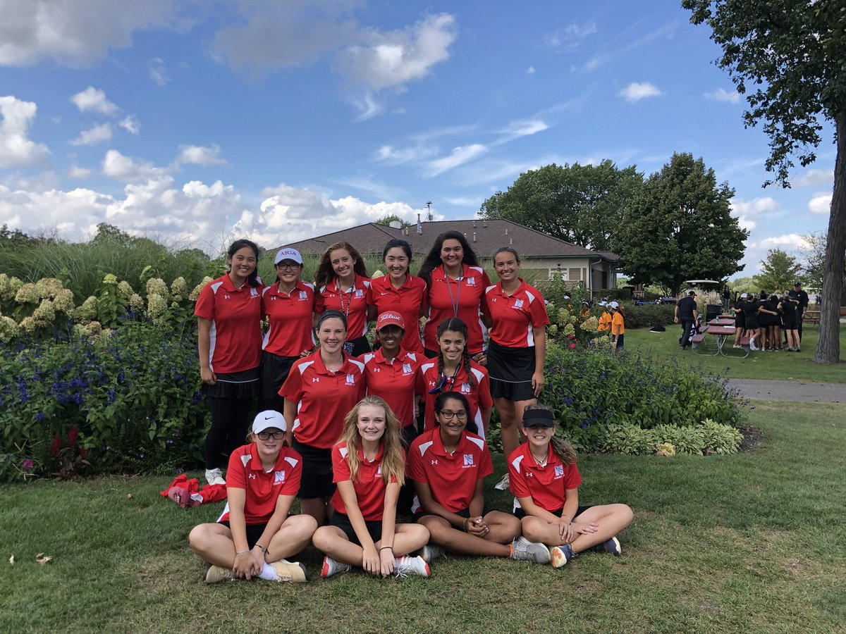The girls golf team at DVC on Sept. 25. (From left to right): Juniors Rebecca Zhang, Emma Lim, Sally Gombas, senior Erin Fang, juniors Bella Russo, Ava Lyons, freshman Haley Hayes, junior Neha Vinesh, freshmen Avery Baltrus, Liz Gust, Margot Dawson, Aparna Ramakrishnan and Rachel Leyden. They com- peted at state on Oct. 12 at Illinois State University.