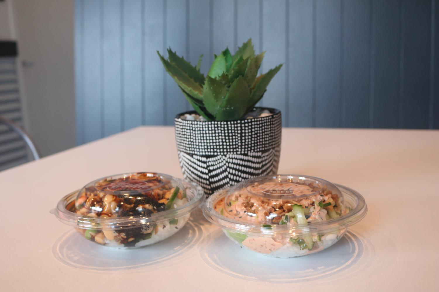 Aloha Poke's house specials: The Crunch Bowl and Volcano Bowl