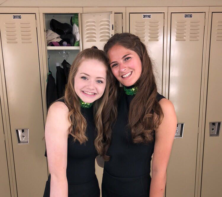 Juniors Ashley Nelson and Veronica Cody before their Irish dance performance at Central's 2018 multicultural show.