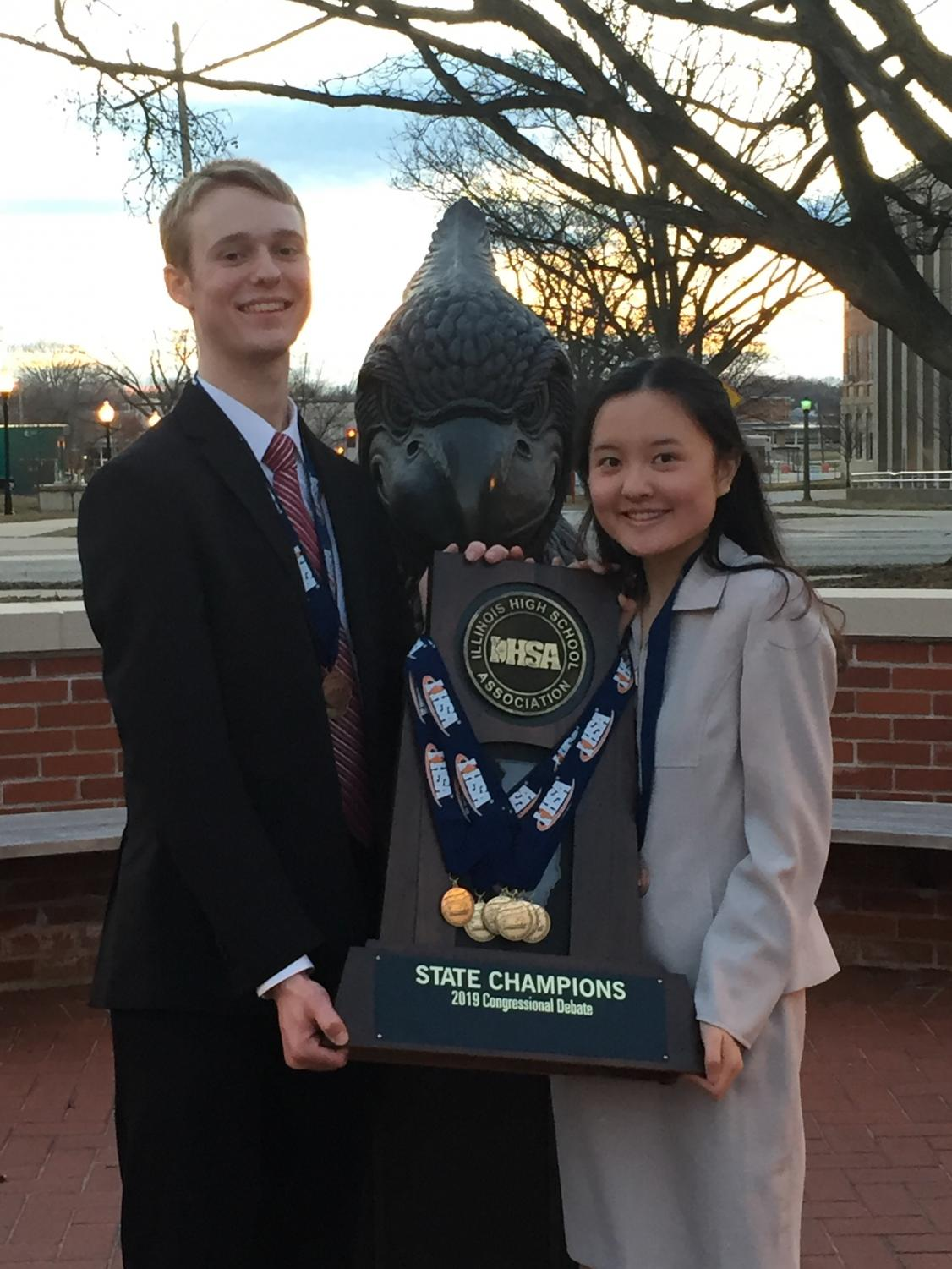 Senior Jim Royal and junior Vivian Zhao win the IHSA state champion team title in Congressional Debate. The tournament took place on March 15 and 16 at ISU.