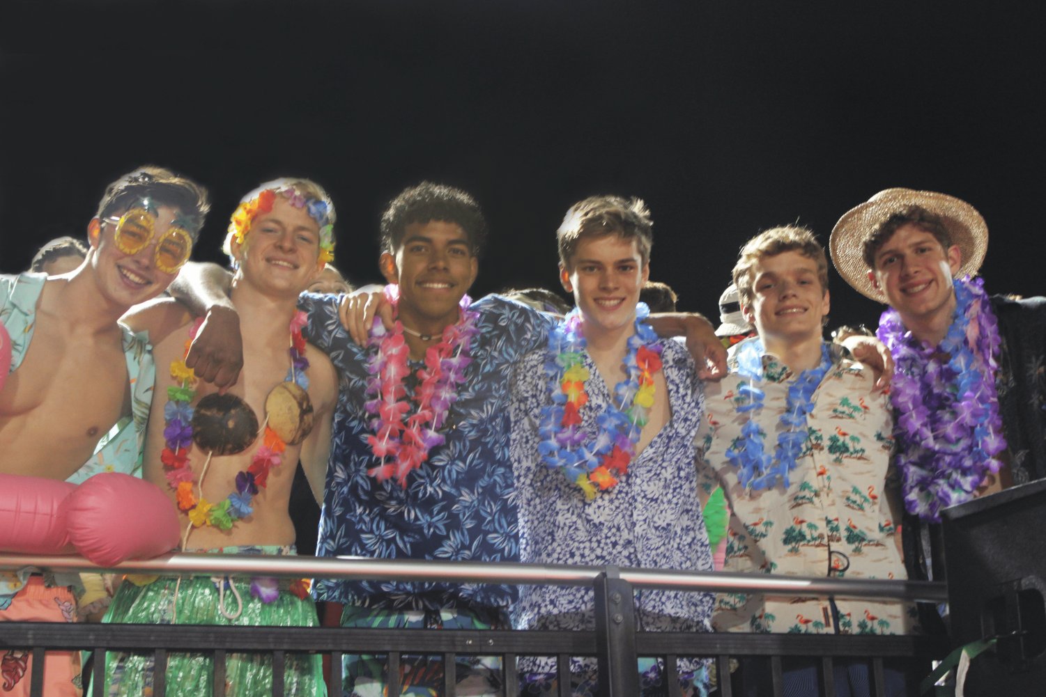 The Rowdies left to right: Jackson Wigger, Ben Riker, Jaeden Howell, Carter Stenmark, Leyton Spencer and Cameron Dougherty at the football home opener on Sept. 6, 2019.
