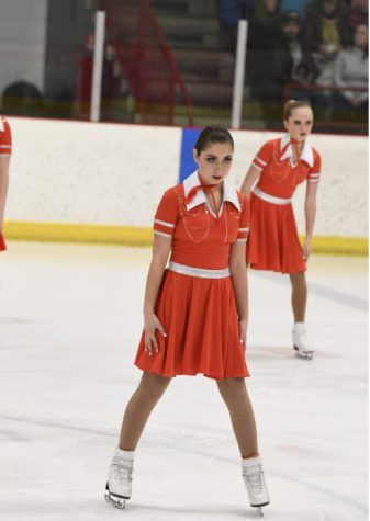 McCarl at synchronized ice skating competition with nationally ranked Downers Grove Dazzlers; Right photo: McCarl with olympian Brady Tanner at Dupage Open