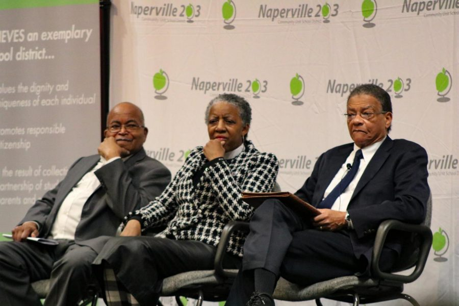 Thomas Armstrong, Dr. Janette Wilson and Dr. James Shannon appeared at the request of Rev. Jesse Jackson to share their life experiences with students at Naperville Central. The three civil rights activists reminded students that teenagers were and should continue to be active in the movement for equality.