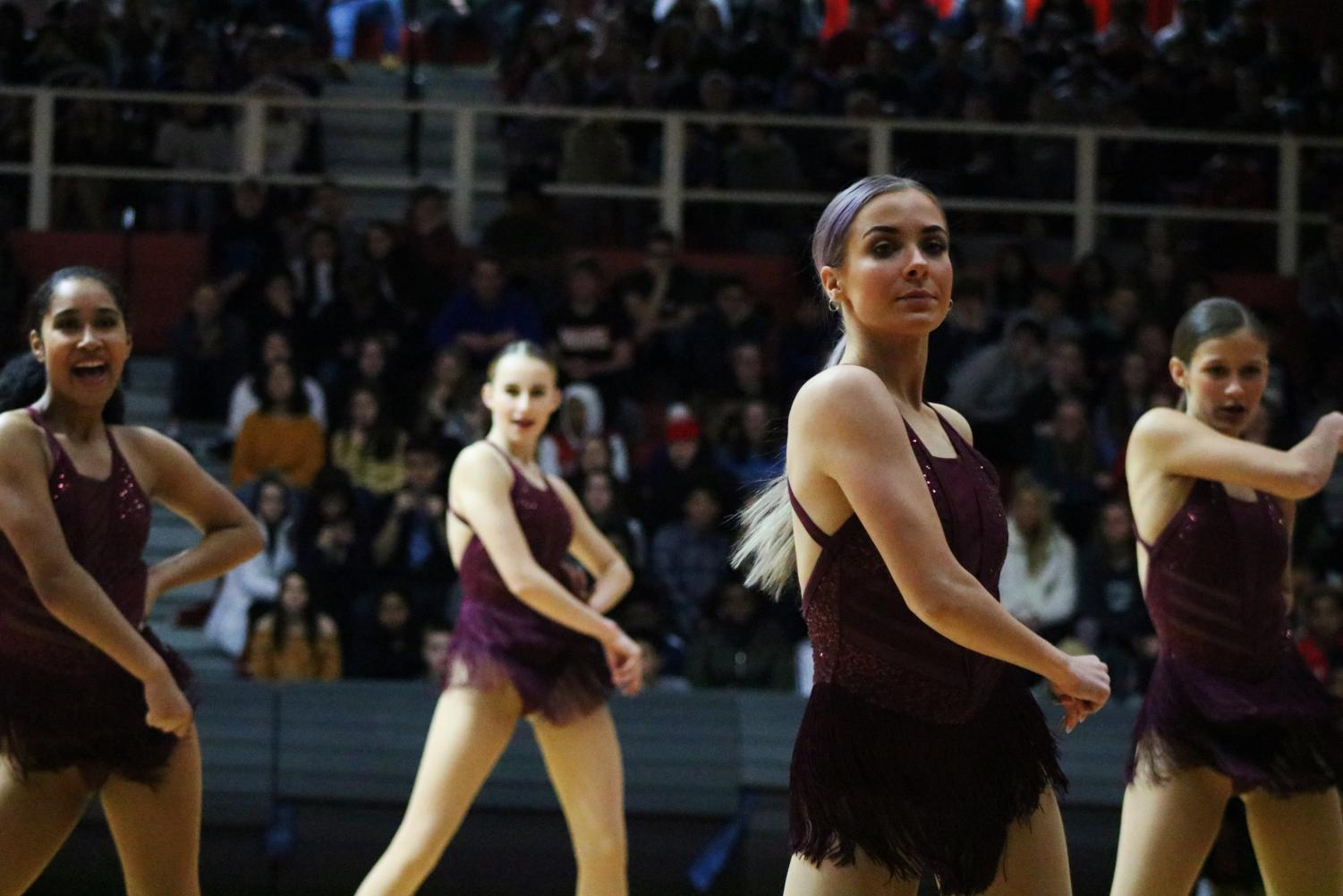 Orchesis performs their dance routine at the Winter assembly on Feb. 7.