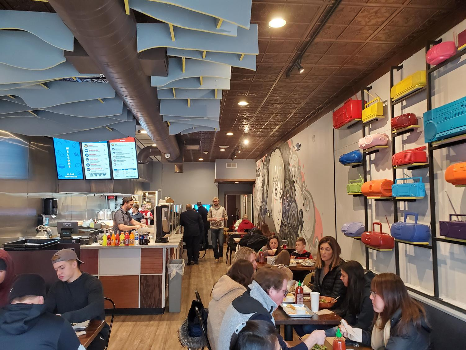 Seoul Taco is located near the corner of Washington Street and Jefferson Avenue in downtown Naperville.