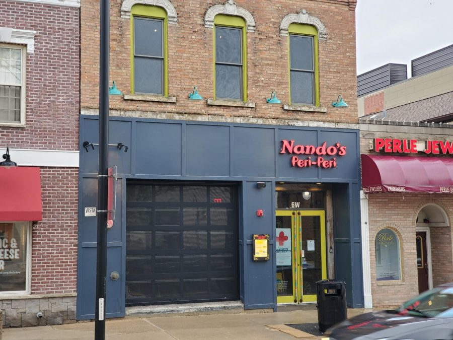 The Nando's PERi-PERi on the corner of Jefferson and Washington in downtown Naperville is offering curbside pickup and delivery during the COVID-19 pandemic.