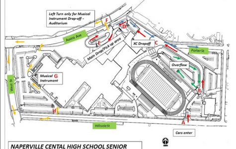 This map, provided by Student Activities to senior families, shows the traffic pattern created for seniors so that they could take care of year-end business without leaving their cars, and so that social distancing guidelines could be followed.