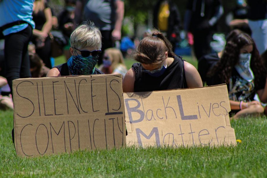 Protesters attending a peaceful rally at Cantore Park in Naperville on May 31.