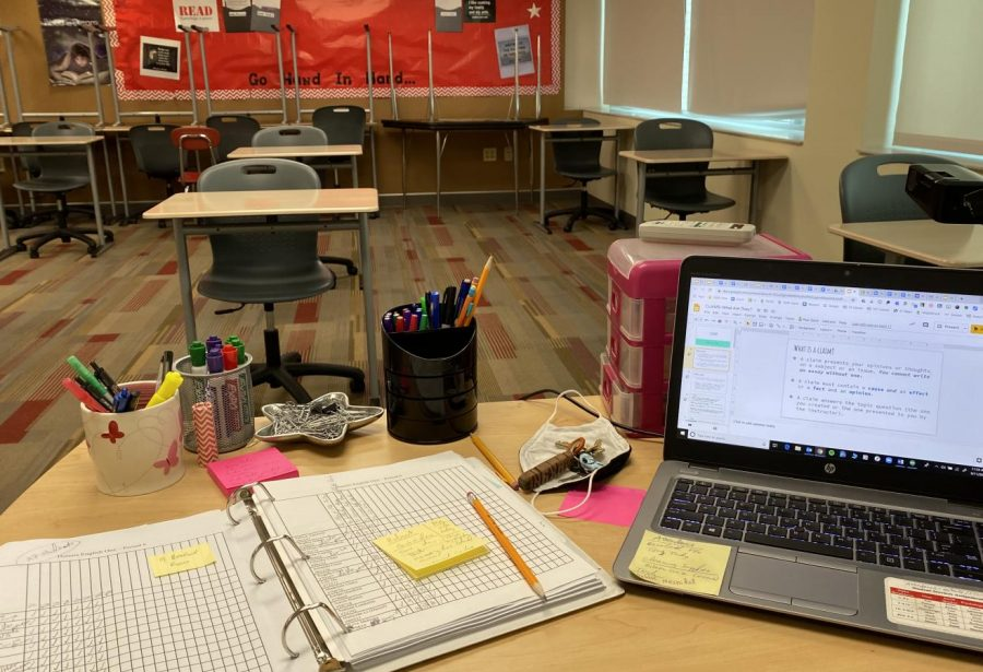 Teachers are being encouraged to teach from their classrooms to help foster a sense of normalcy, but the absence of students from classrooms is hardly normal. District 203 does not give teachers the option to teach completely from home.