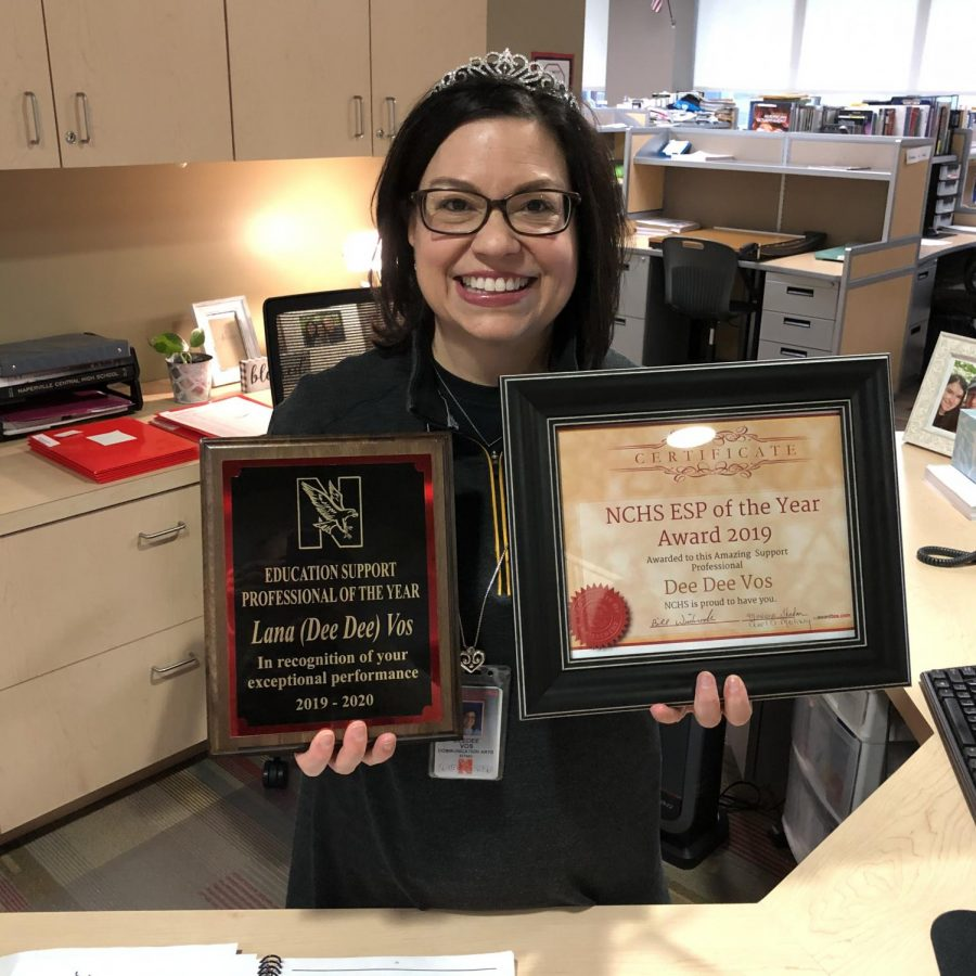 Communication arts secretary DeeDee Vos, seen here at her reception desk, was recognized as Naperville Central's Educational Support Professional of the Year for the 2019-20 school year. Vos died in October after a decade-long battle with breast cancer.