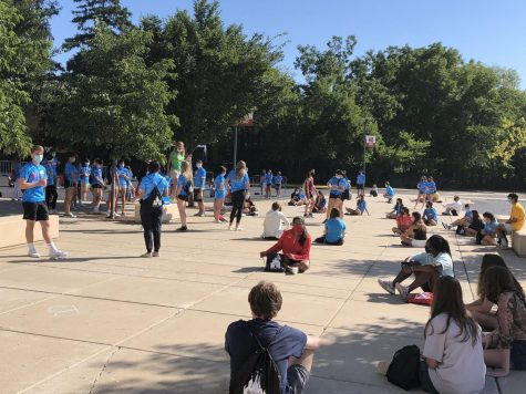 Socially distanced Link leaders and freshmen wait to be separated into groups during the Aug. 20 freshman orientation at Naperville Central.