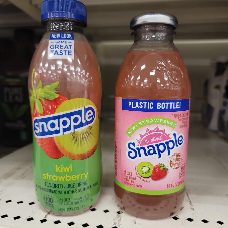 The new Snapple bottle (left) uses less plastic and has been redesigned