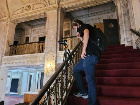 Boonsearm sets up a shot in the old Central Park Theater in Chicagos North Lawndale neighborhood.